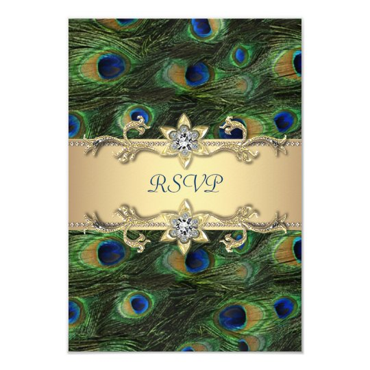 Emerald Green Gold Royal Indian Peacock RSVP Card