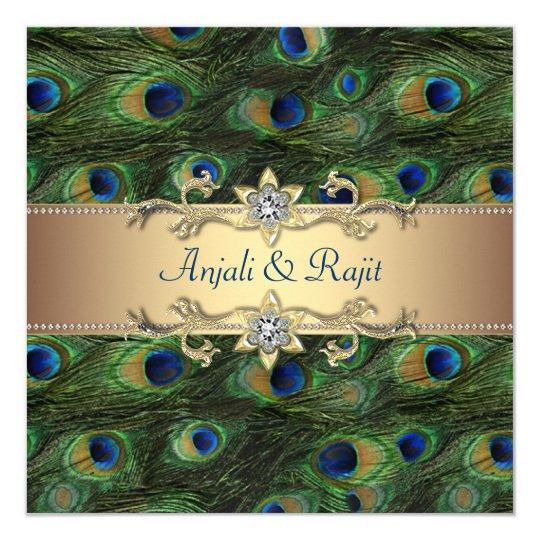 Emerald Green Gold Royal Indian Peacock Wedding Card
