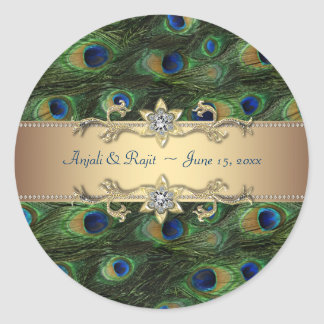 Emerald Green Gold Royal Indian Peacock Wedding Classic Round Sticker