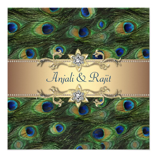 20 30 50 PEACOCK Feather Wedding Bridal Shower Save the Date Invitaitons CUSTOM