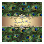 Emerald Green Gold Royal Indian Peacock Wedding Personalized Invites