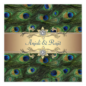 Emerald Green Gold Royal Indian Peacock Wedding 5.25x5.25 Square Paper Invitation Card