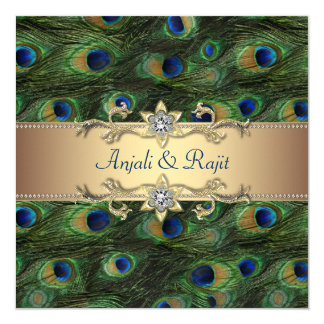 Emerald Green Gold Royal Indian Peacock Wedding Invitation