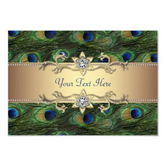 Emerald Green Gold Royal Indian Peacock Wedding 3.5x5 Paper Invitation Card