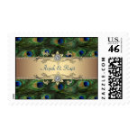 Emerald Green Gold Royal Indian Peacock Wedding Stamp