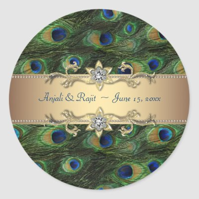 Emerald Green Gold Royal Indian Peacock Wedding Stickers by decembermorning