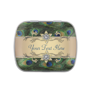 Emerald Green Gold Royal Peacock Wedding Candy Jelly Belly Candy Tins