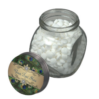 Emerald Green Gold Royal Peacock Wedding Candy Jelly Belly Candy Jars
