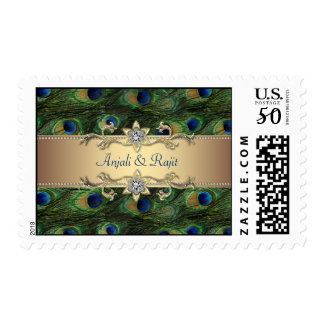 Emerald Green Gold Royal Peacock Wedding Postage