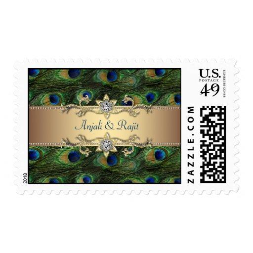 Emerald Green Gold Royal Peacock Wedding Stamp