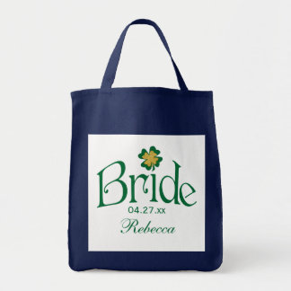 Emerald Green, Gold, White Shamrock Bride Bag