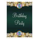 Emerald Green Gold Womans Birthday Party Custom Invitations