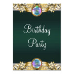 Emerald Green Gold Womans Birthday Party Custom Invitations