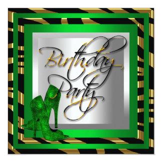 Emerald Green Gold Zebra Black High Heel Shoes Card