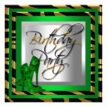 Emerald Green Gold Zebra Black High Heel Shoes Personalized Invite