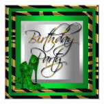Emerald Green Gold Zebra Black High Heel Shoes Personalized Invite