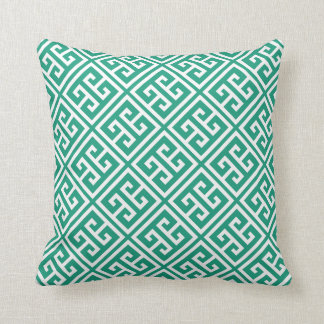 Emerald Green Greek Key Pattern Throw Pillow