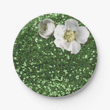 Beach Themed Emerald Green Greenery White Jasmine Glitter Paper Plate