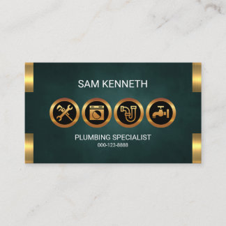 Emerald Green Grunge Faux Gold Icon Plumber Business Card