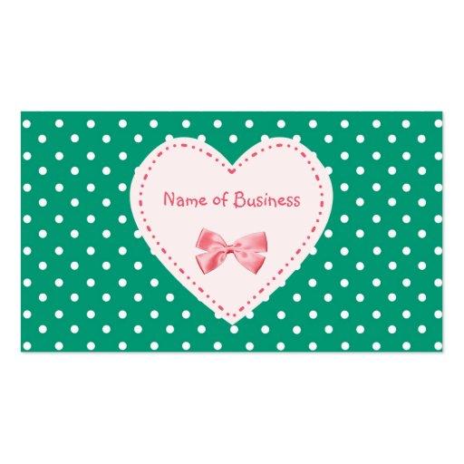Emerald Green Heart Business Name Business Card Templates