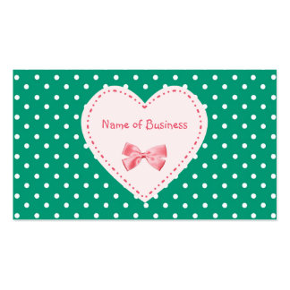 Emerald Green Heart Business Name Double-Sided Standard Business Cards (Pack Of 100)