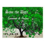 Emerald Green Heart Leaf Tree Save the Date Postcard