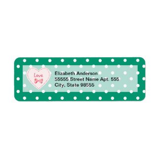 Emerald Green Heart With Name Return Address Label