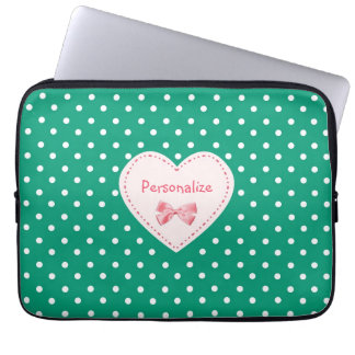 Emerald Green Heart With Name Laptop Computer Sleeves