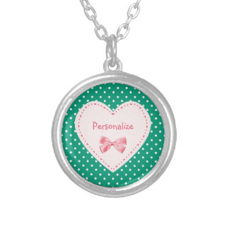 Emerald Green Heart With Name Round Pendant Necklace