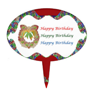 Emerald Green Hearts  HappyBirthday Birthday Cake Topper