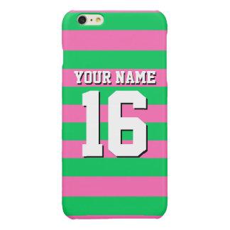 Emerald Green Hot Pink Team Jersey Preppy Stripe Glossy iPhone 6 Plus Case