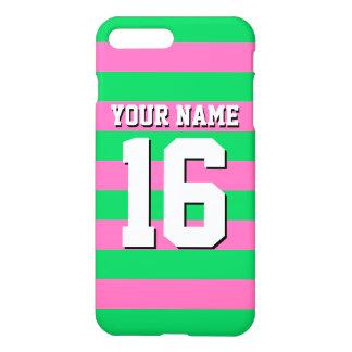 Emerald Green Hot Pink Team Jersey Preppy Stripe iPhone 8 Plus/7 Plus Case