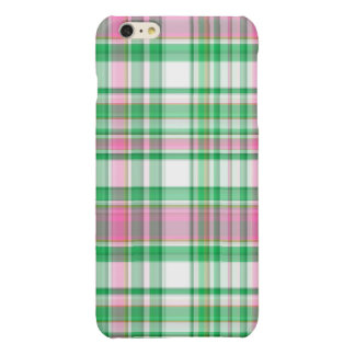 Emerald Green, Hot Pink, White Preppy Madras Plaid Glossy iPhone 6 Plus Case