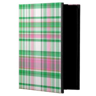 Emerald Green, Hot Pink, White Preppy Madras Plaid iPad Air Case