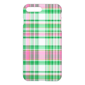 Emerald Green, Hot Pink, White Preppy Madras Plaid iPhone 8 Plus/7 Plus Case