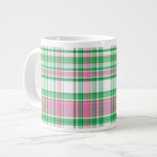 Emerald Green, Hot Pink, White Preppy Madras Plaid Large Coffee Mug