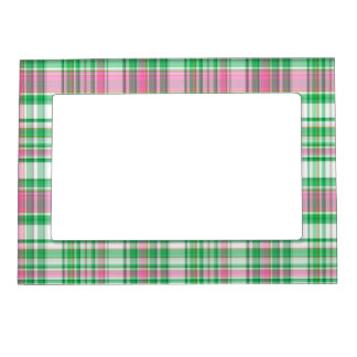 Emerald Green, Hot Pink, White Preppy Madras Plaid Picture Frame Magnet