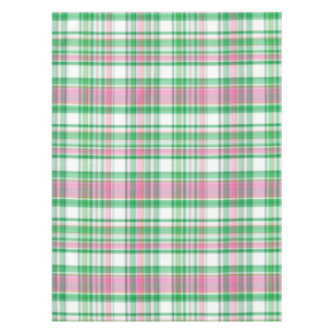 Genial Emerald Green, Hot Pink, White Preppy Madras Plaid Tablecloth