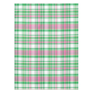 Great Emerald Green, Hot Pink, White Preppy Madras Plaid Tablecloth
