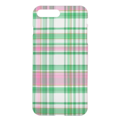 Emerald Green, Hot Pink, White Preppy Madras Plaid Phone Case