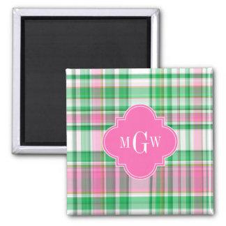 Emerald Green Hot Pink Wht Preppy Madras Monogram 2 Inch Square Magnet