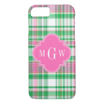 Emerald Green Hot Pink Wht Preppy Madras Monogram iPhone 8/7 Case
