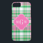"Emerald Green Hot Pink Wht Preppy Madras Monogram iPhone 8/7 Case<br><div class=""desc"">Shades of Emerald Green, Hot Pink and White Preppy Madras Style Plaid Pattern Hot Pink Quatrefoil Monogram Customize this with your 3 initial monogram, name or other text. You can also change the font, adjust font size and font colos, move the text to adjust letter spacing, add text fields, etc....</div>"