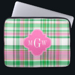 """Emerald Green Hot Pink Wht Preppy Madras Monogram Laptop Sleeve<br><div class=""""desc"""">Shades of Emerald Green, Hot Pink and White Preppy Madras Style Plaid Pattern Hot Pink Quatrefoil Monogram Customize this with your 3 initial monogram, name or other text. You can also change the font, adjust font size and font colos, move the text to adjust letter spacing, add text fields, etc....</div>"""