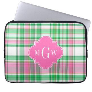 Emerald Green Hot Pink Wht Preppy Madras Monogram Laptop Sleeve