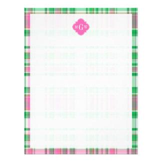 Emerald Green Hot Pink Wht Preppy Madras Monogram Letterhead