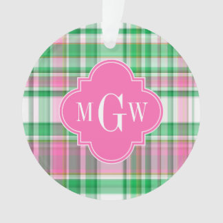 Emerald Green Hot Pink Wht Preppy Madras Monogram Ornament