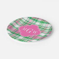 Emerald Green Hot Pink Wht Preppy Madras Monogram Paper Plate