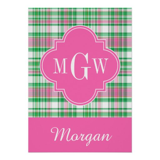 Emerald Green Hot Pink Wht Preppy Madras Monogram Poster