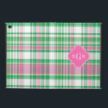 """Emerald Green Hot Pink Wht Preppy Madras Monogram Powis iPad Air 2 Case<br><div class=""""desc"""">Shades of Emerald Green, Hot Pink and White Preppy Madras Style Plaid Pattern Hot Pink Quatrefoil Monogram Customize this with your 3 initial monogram, name or other text. You can also change the font, adjust font size and font colos, move the text to adjust letter spacing, add text fields, etc....</div>"""